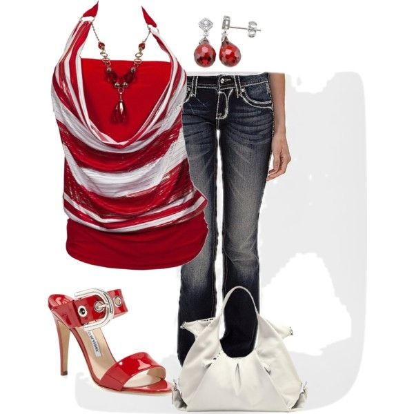 Halter top and Jeans by jennifernoriega on Polyvore featuring Rock Revival, Manolo Blahnik, Vince Camuto and Plutus