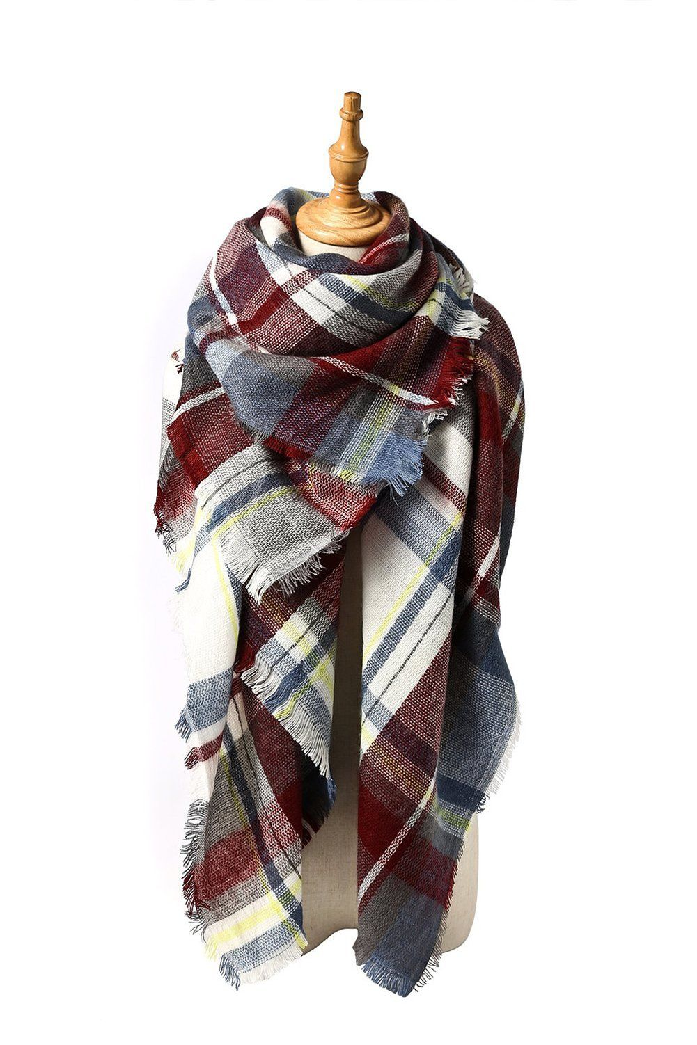 MOLERANI Women's Tassels Soft Plaid Tartan Scarf Winter Large Blanket Wrap Shawl