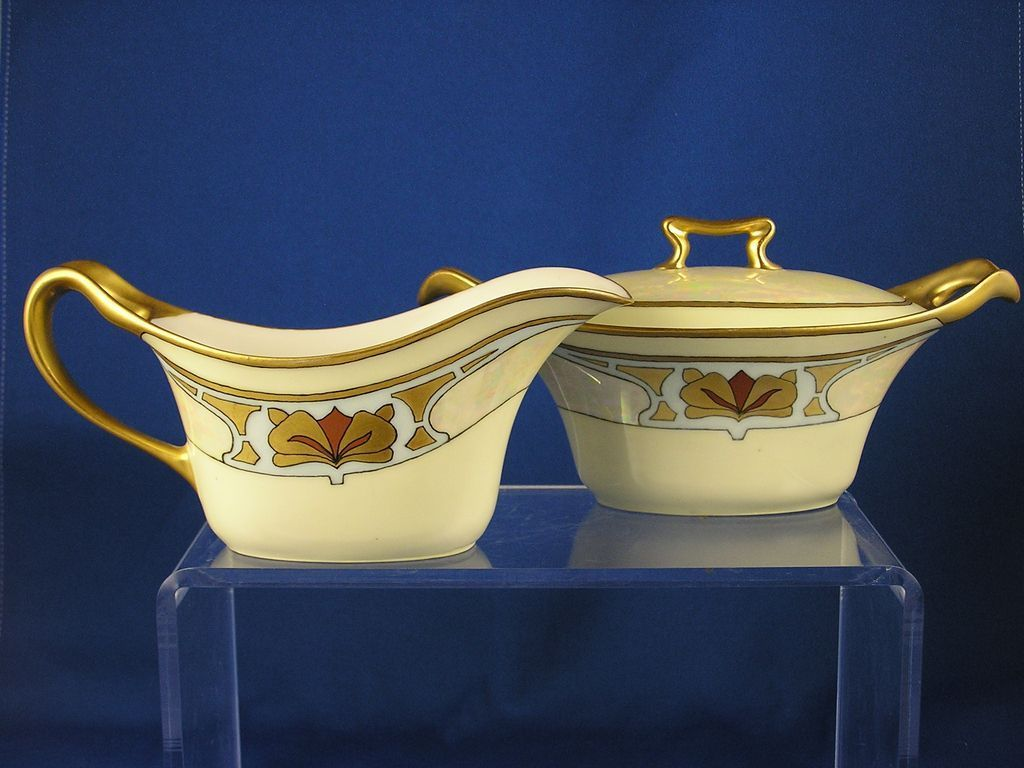 "Porcelain Limousine (PL) Limoges Art Deco Creamer & Sugar Set (Signed ""H. Jones""/c.1905-1930)"