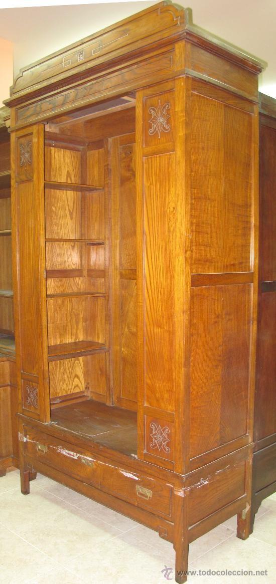 ARMARIO MODERNISTA MADERA CASTAÑO (Antigüedades   Muebles Antiguos    Armarios Antiguos)