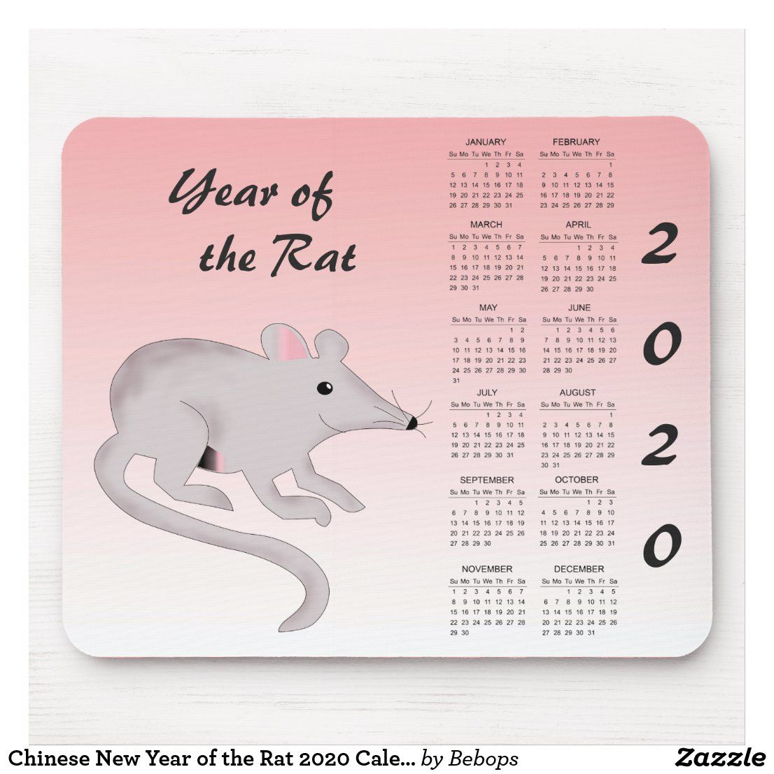 Chinese New Year of the Rat 2020 Calendar Mousepad