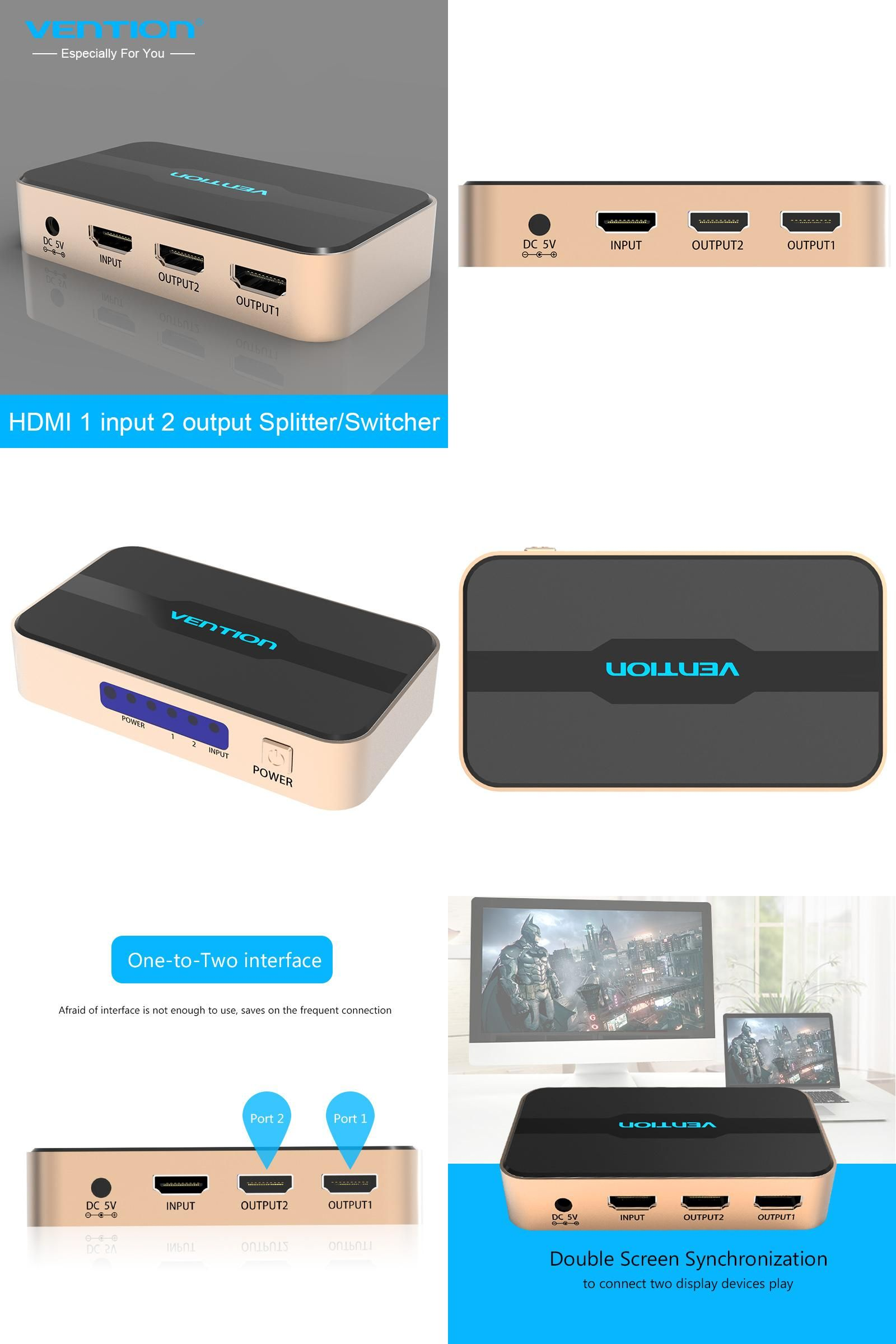 Visit to Buy] Vention Brand HDMI Splitter 1 in 2 out HDMI