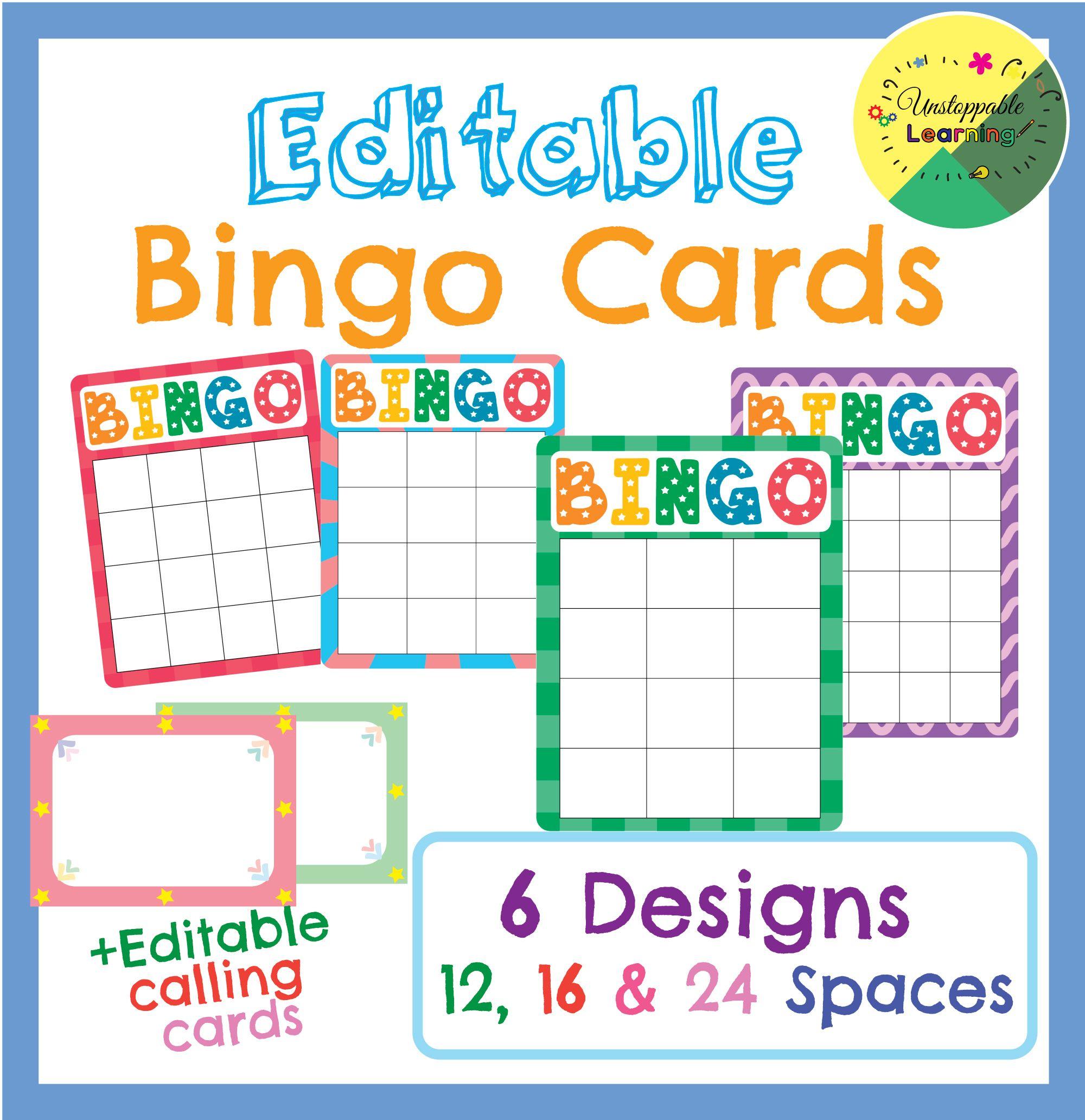 Editable Bingo Cards Bingo Cards Bingo