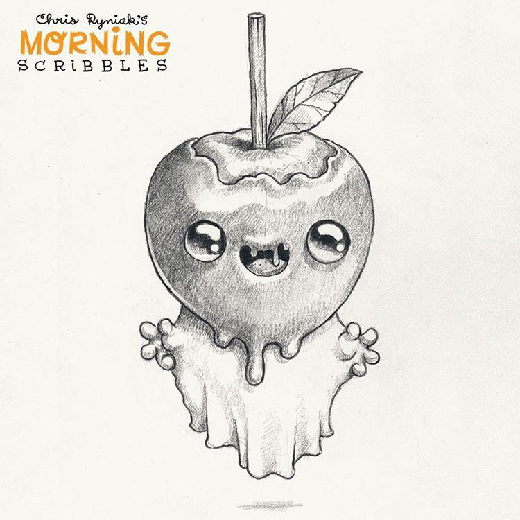 Caramel Apple Ghost Morningscribbles October Halloween Cute Monsters Drawings Monster Drawing Cute Drawings