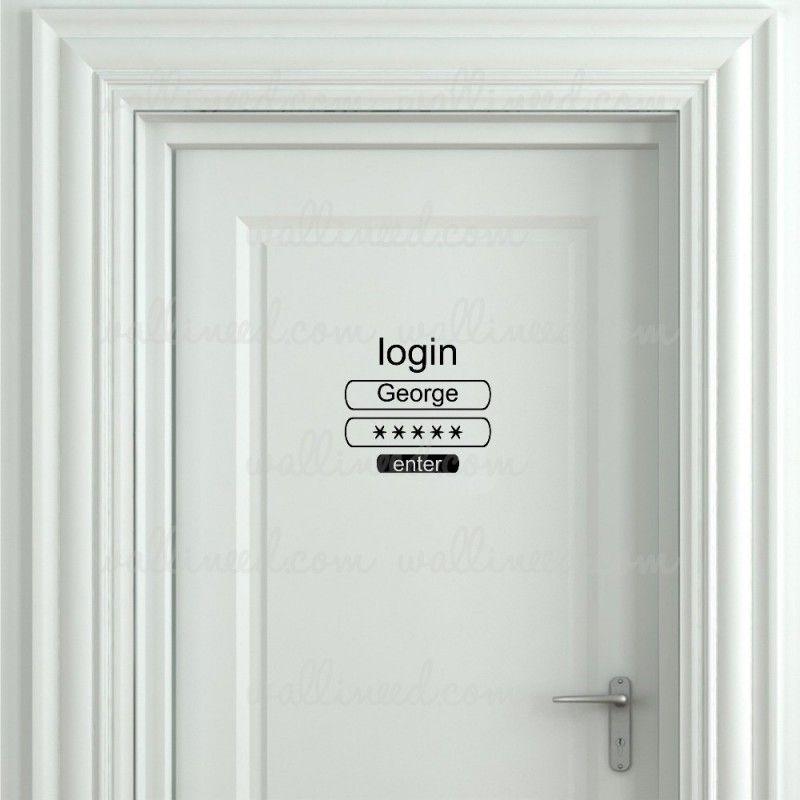 Custom Name Login Toilet Door Sign Sticker