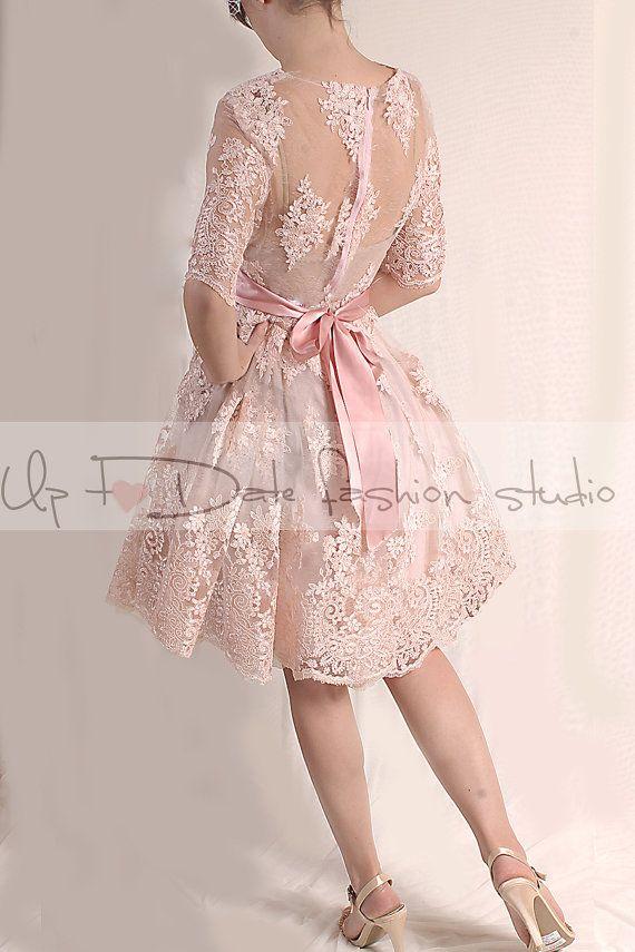 Plus Size Blush Pink Bridesmaid Dress Wedding Etsy Knee Length Lace Dress Short Lace Dress Lace Pink Dress