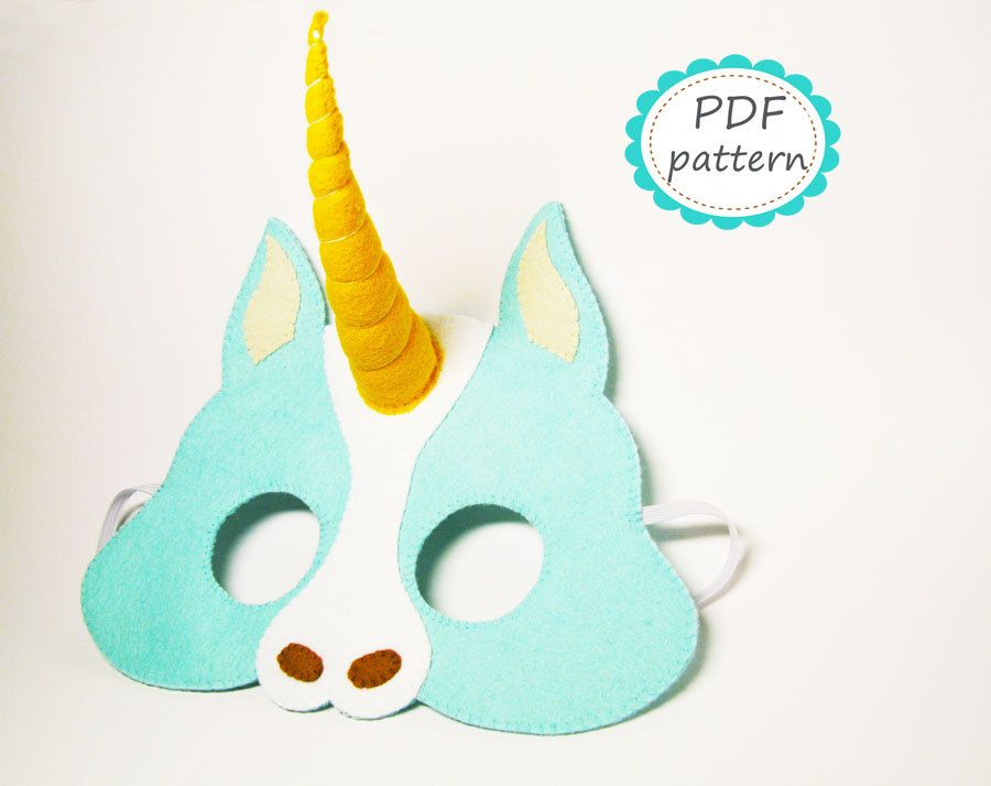 Unicorn pony felt mask - blue yellow - soft mask for boys girls ...