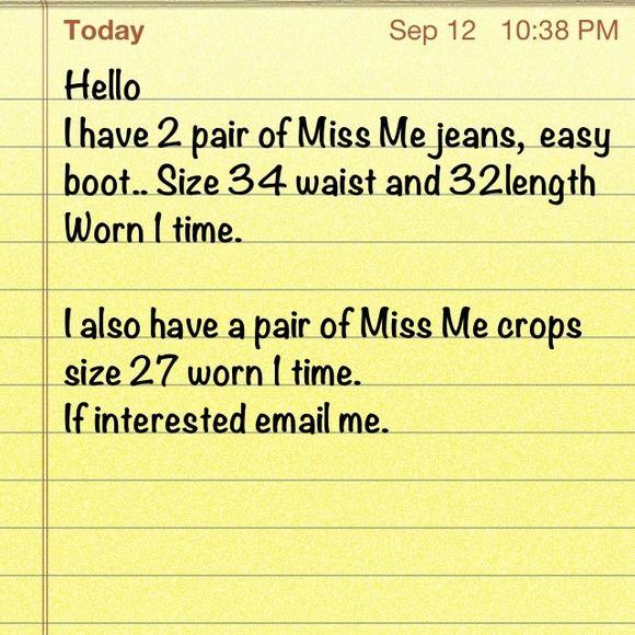 Miss Me jeans Miss me jeans size 34x32...excellent condition Miss Me Jeans