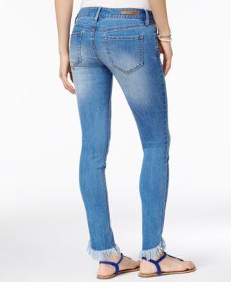 Dollhouse Juniors' Fringed Skinny Jeans - Blue 11
