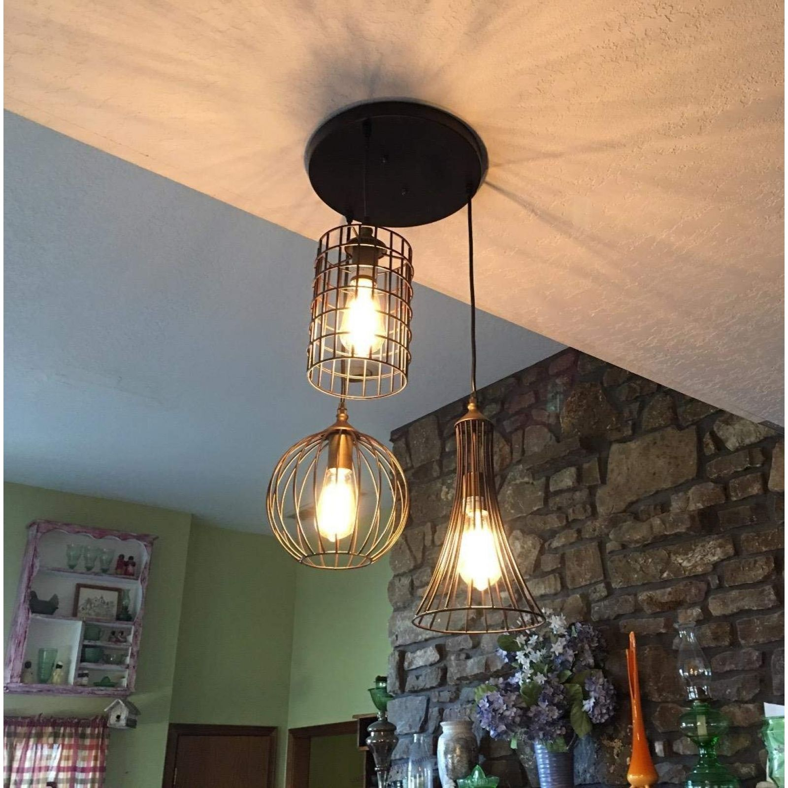 Antique 3 Lights Oil Rubbed Bronze Chandelier With Wire Cage