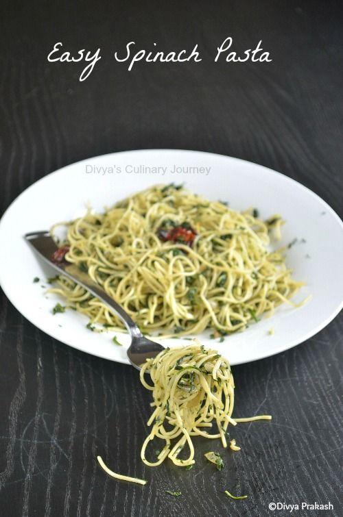 Divya's culinary journey: Spinach Pasta- Easy Pasta Recipes- Healthy & Vegan