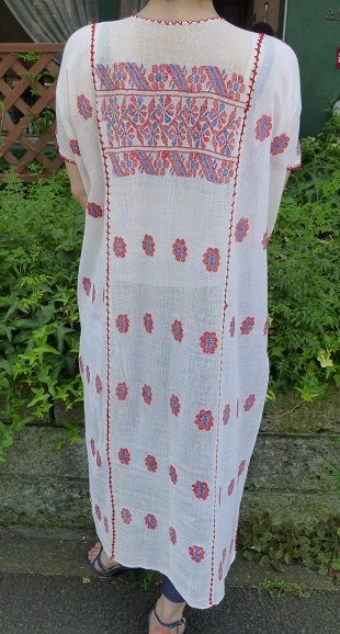 メキシコ・アムスゴ族の手織りガーゼ刺繍ワンピース・ビンテージ ...