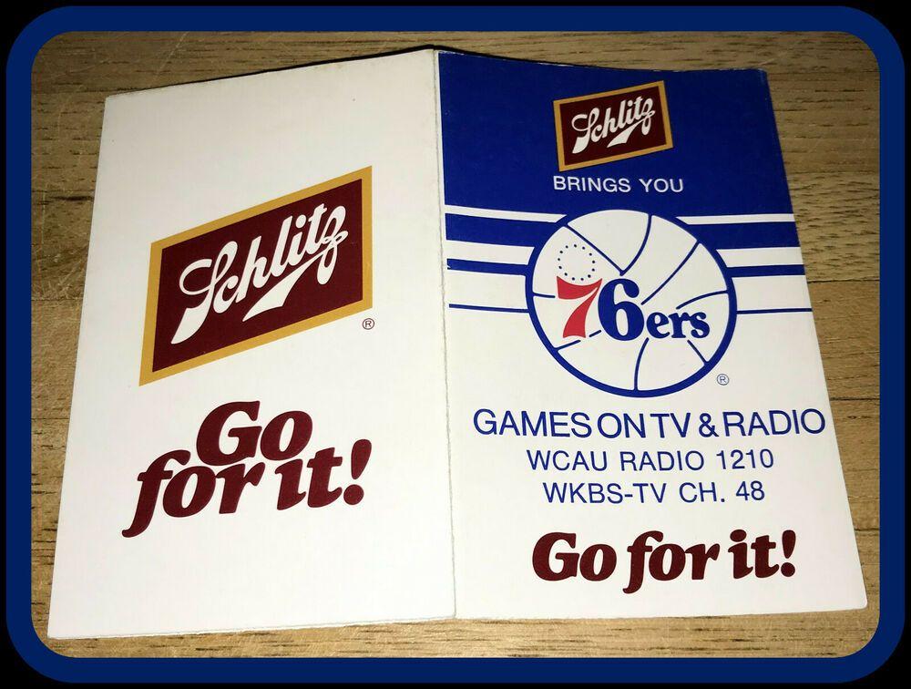 198081 PHILADELPHIA 76ERS SCHLITZ BEER BASKETBALL POCKET