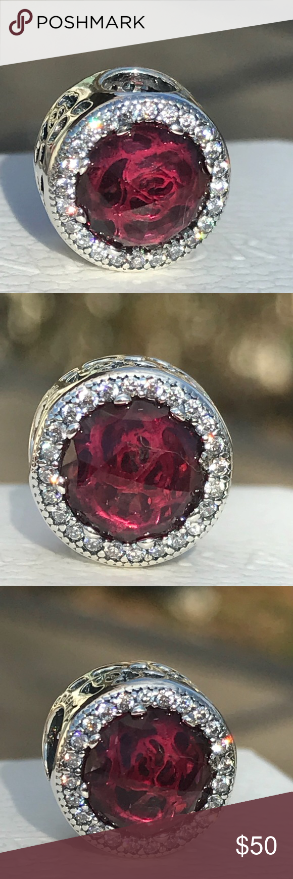 80c906222 Pandora Disney Belle's Radiant Rose Charm Authentic Pandora Disney Charm Belle's  Radiant Rose with Cerise crystal and clear CZ Beauty and the Beast ...