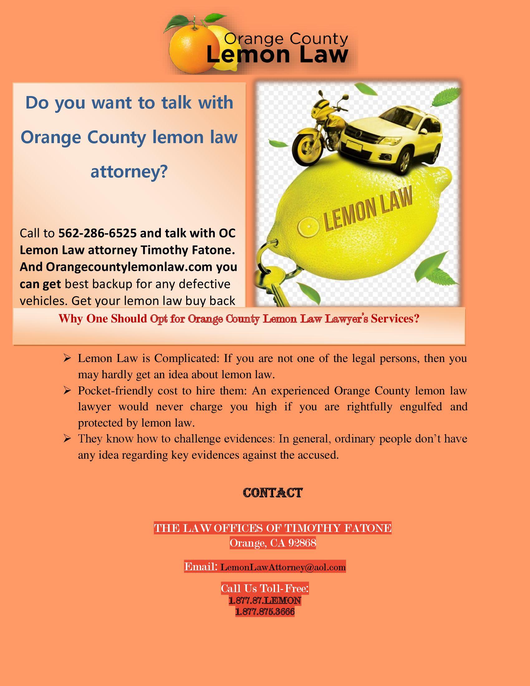 Orange County Lemon Law – Lemon lawyers for your Cars in California