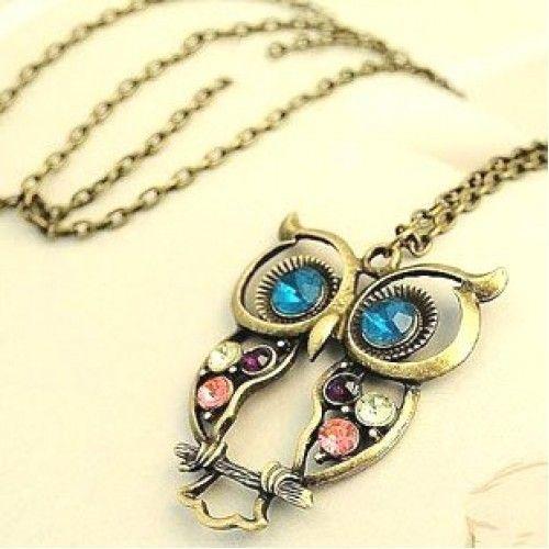 سلسال البومه شكل جديد وجميل اللون نحاسي Owl Pendant Necklace Rhinestone Pendant Rhinestone Necklace