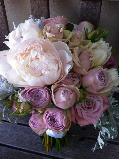 Lilac Mauve Lavender Blush Pink Peony And Rose Bouquet Flowers