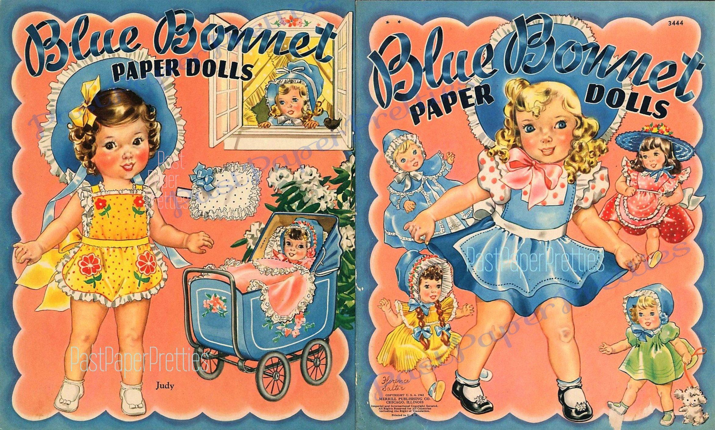 VINTAGE UNCUT 1942 BLUE BONNET PAPER DOLL HD~LASER ORG SZ REPRODUCTION~LO PR~
