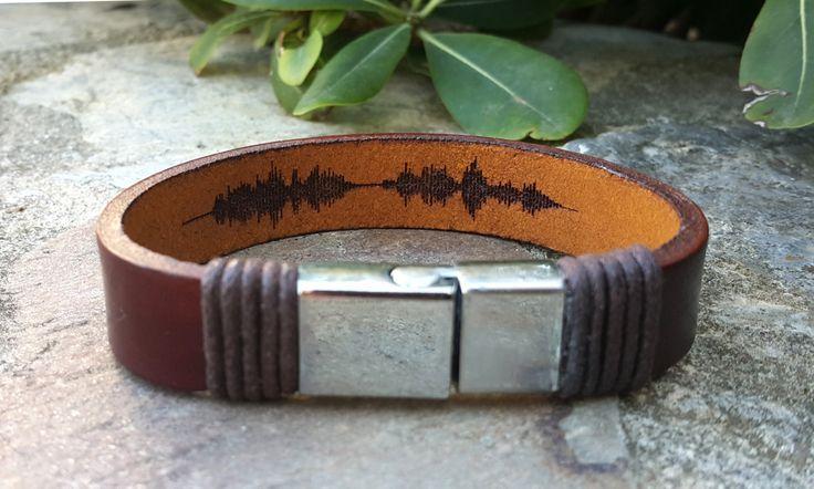 Personalized Birthday Gift for Boyfriend Engraved Leather Bracelet Gift for Mens Soundwave Bracelet Hidden Message Valentines Gift for Him
