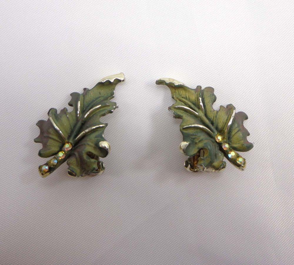 BSK Earrings Green Leaves AB Rhinestones Clip Ons Earth Tones Silver 929 #BSK #Cliponclipbacks
