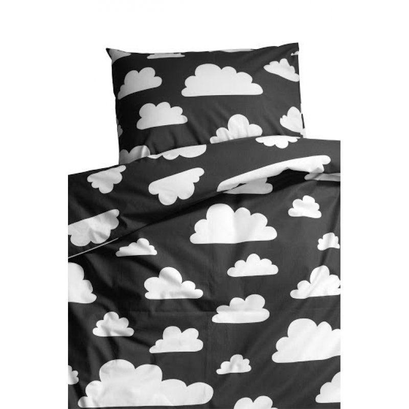 farg form children bedset with cloud print black