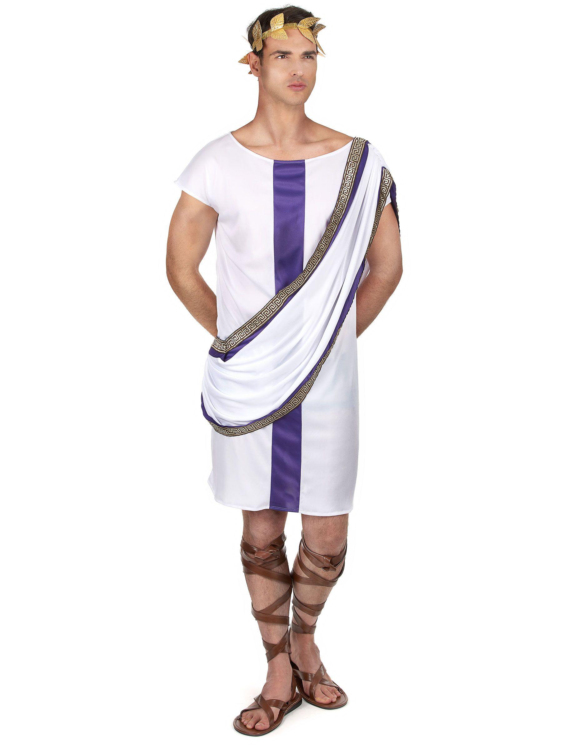 89a43d9d07bf4 Disfraz romano hombre  Este disfraz de romano para hombre incluye túnica y  diadema (zapatos no incluidos).La túnica es blanca con una banda satinada  violeta ...