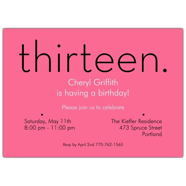 Thirteen Pink 13th Birthday Invitations