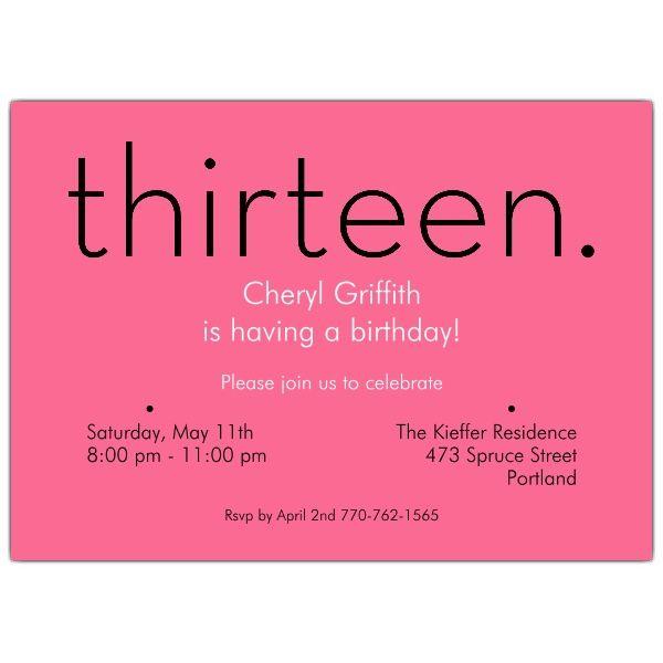 thirteen pink 13th birthday invitations