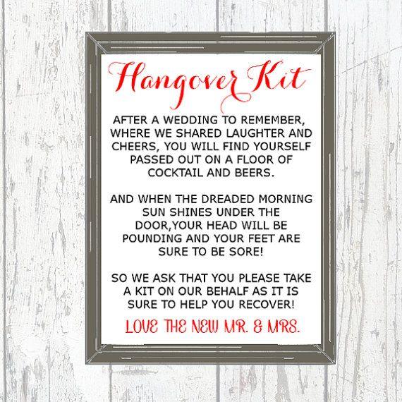 Wedding Hangover Kit Poem - Unique Wedding Ideas