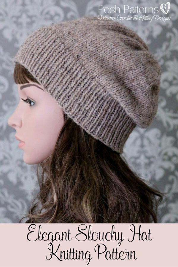 Knitting PATTERN - Slouchy Hat Knitting Pattern - Knit Slouchy Hat ...