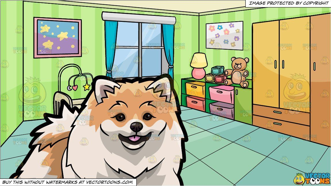 Clipart Cartoon A Beautiful Pomeranian Dog And A Bedroom Of A Baby