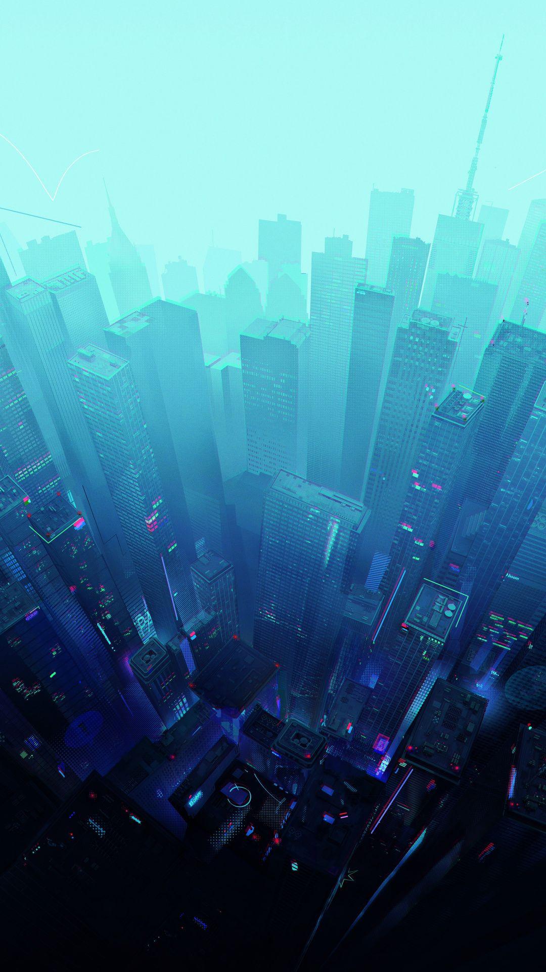 Skyscrapers Cityscape Futuristic City Blue Sky Artwork Wallpaper Futuristic City Blue Sky Wallpaper Sky Aesthetic