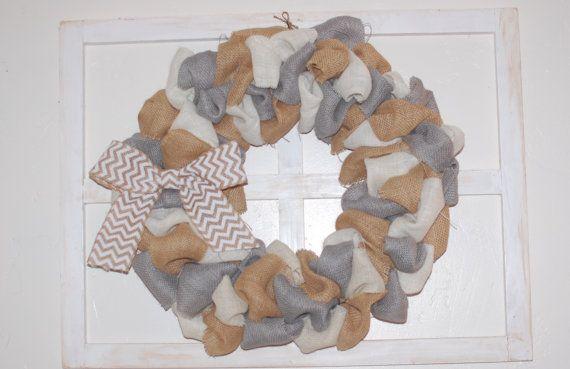 $30 Gray, Cream and Natural Burlap Wreath Chevron Bow Home Decor