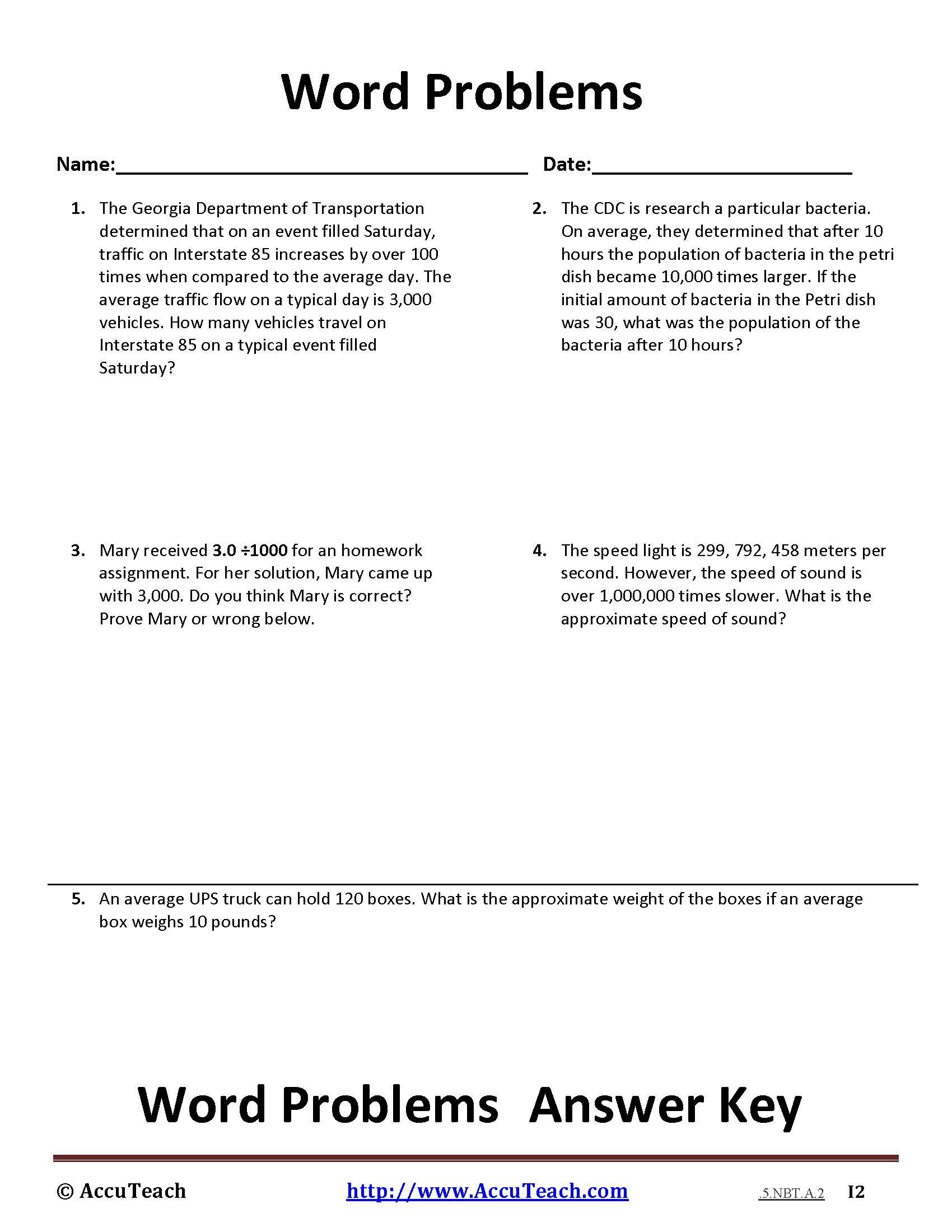 Worksheets Math Worksheets For 5th Grade Word Problems 1 powers of ten word problem 5 nbt a 2 page school pinterest these problems are designed to assess students knowledge story more than just math worksheets the