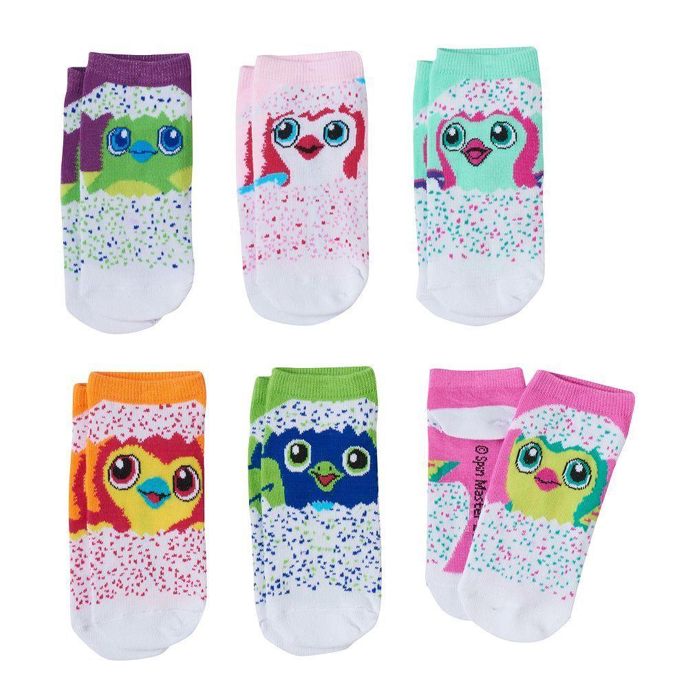Girls 4 12 Hatchimals 6 Pk Low Cut Socks Size Brt Pink 1 2 8