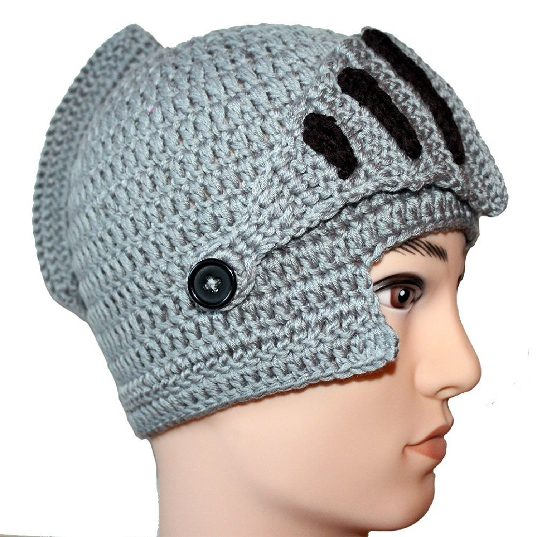 7c11ac893e7 Amigo - Unisex Roman Knight Helmet Hat Knit Beanie Hat Cap Wind Mask- Gray -
