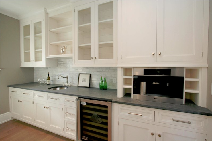 White Kitchen Cabinets Concrete Countertop Grey Backsplash