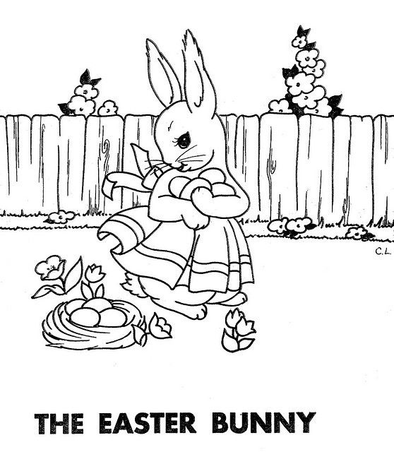 Easter Bunny Vintage Coloring Books Painted Books Redwork Patterns