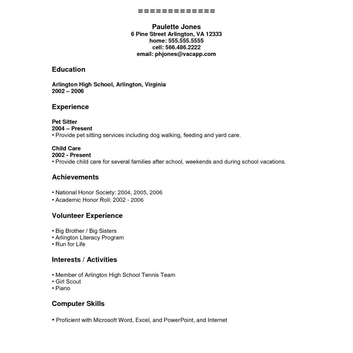 71 Cool Images Of Curriculum Vitae Examples For Highschool Students