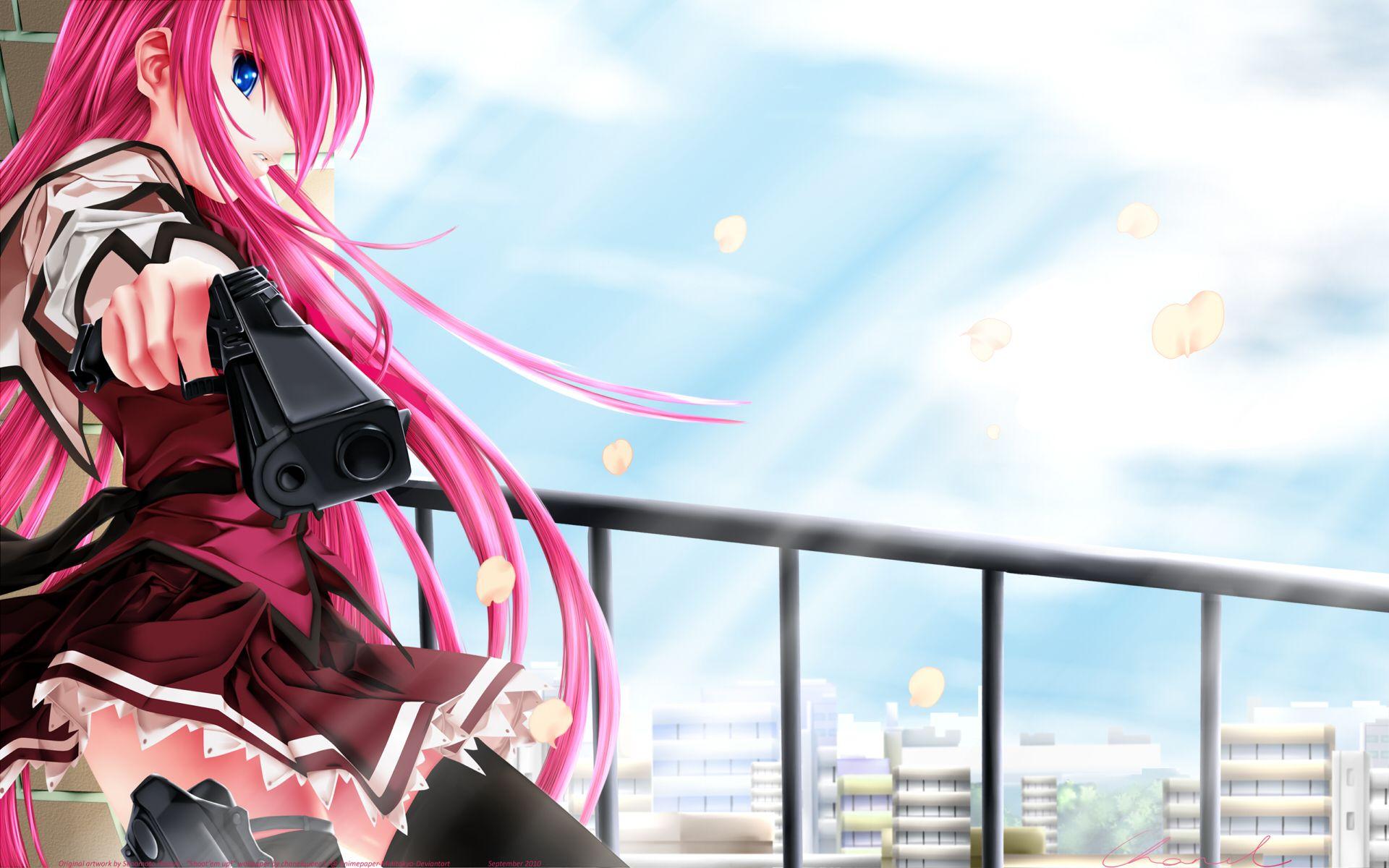 Anime Girl With Gun Hd Wallpaper