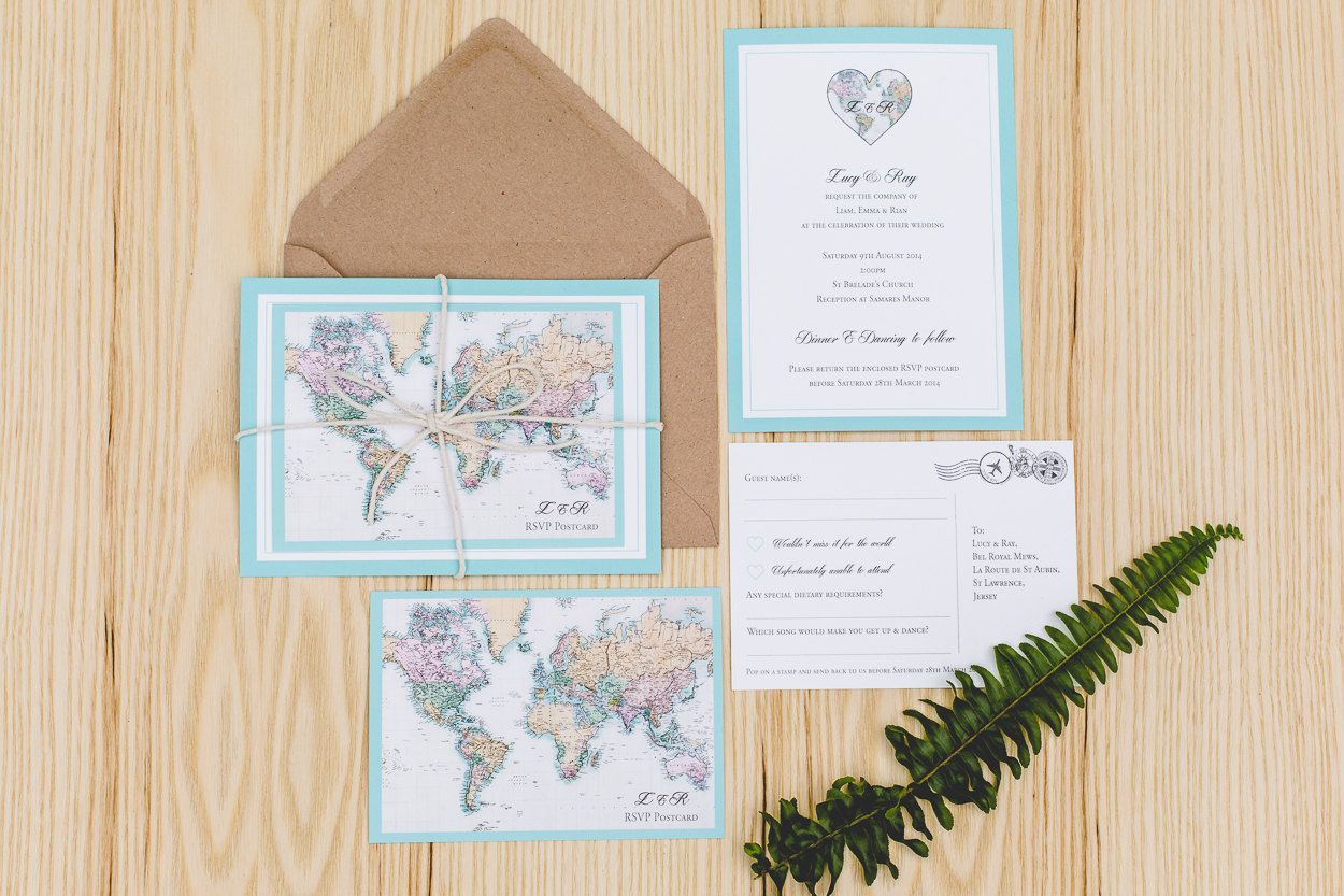 World Map / Travel Inspired Wedding Invitation Set with RSVP ...