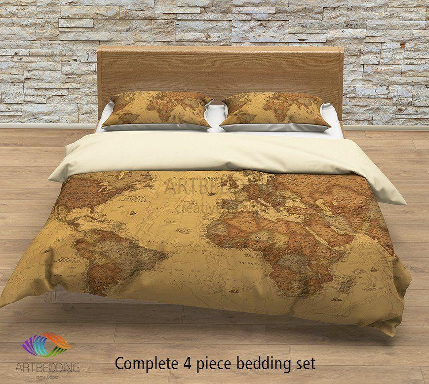 Vintage map bedding, Vintage old map duvet cover, Antique map of the ...