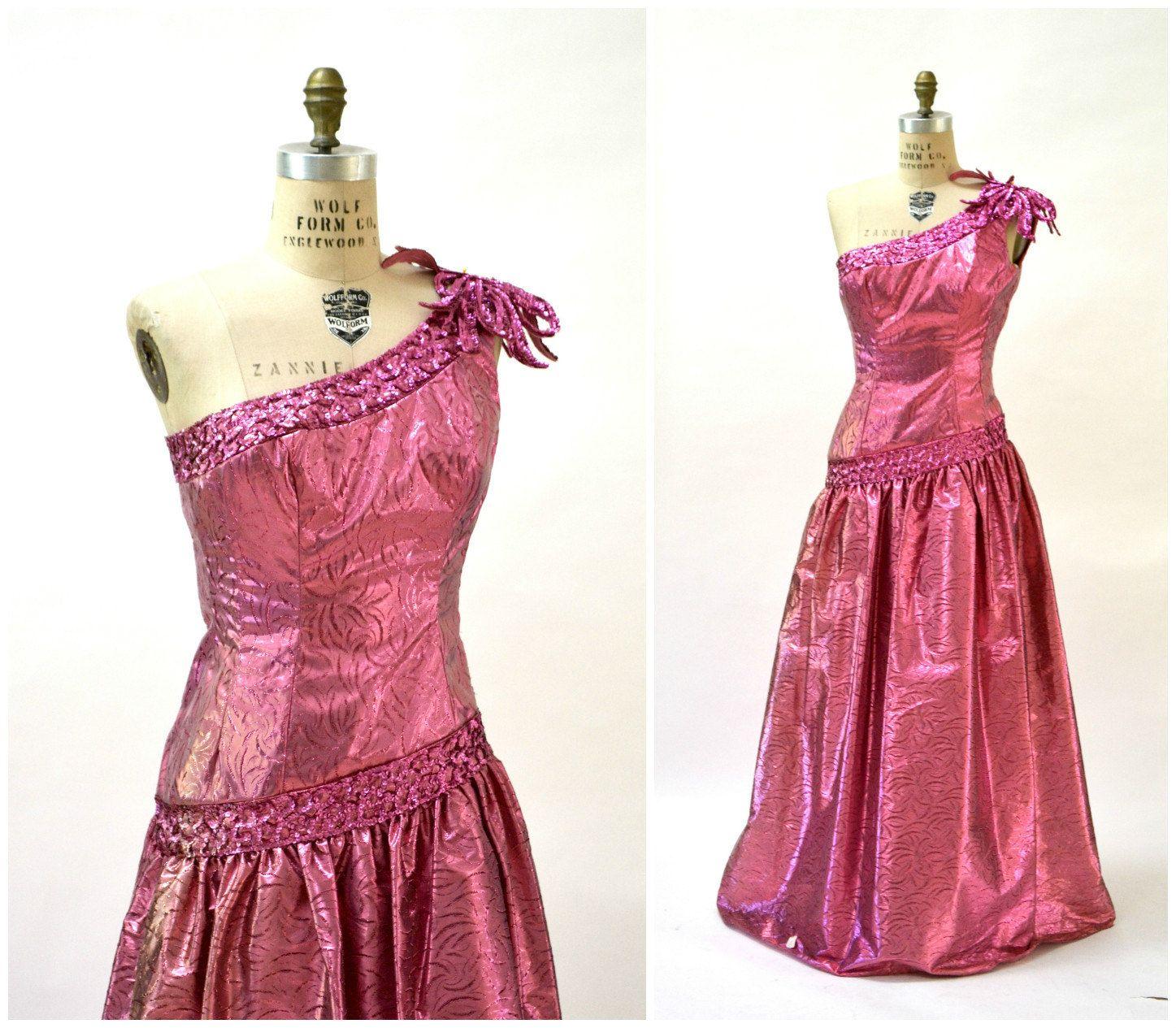 Metallic 80s Prom Dress Pink Small 80s Ball Gown Vintage Etsy 80s Party Dress Pink Prom Dresses 80s Prom Dress [ 1265 x 1447 Pixel ]