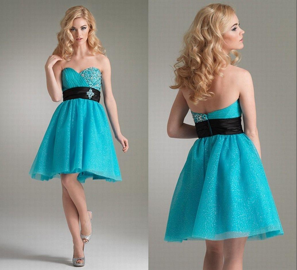 Blue Sweetheart Neck With Black Sash Short Prom Dress on Luulla ...