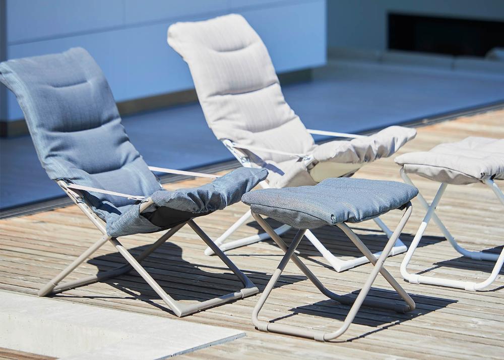 fauteuil relax en aluminium et tissu