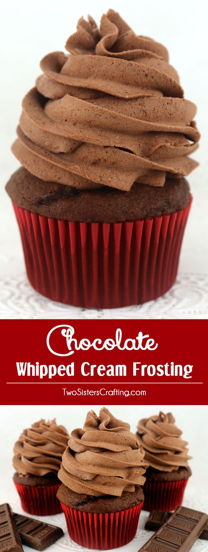 Chocolate Whipped Cream Frosting - light and airy and delicious and it tastes just like Chocolate Whipped Cream. But unlike regular Whipping Cream, this frosting holds its shape, lasts for days and can be used to frost both cake and cupcakes. And it is so easy to make. This yummy Chocolate frosting will become an instant favorite.  Pin this homemade icing for later and follow us for more great Frosting Recipes! #creamfrosting