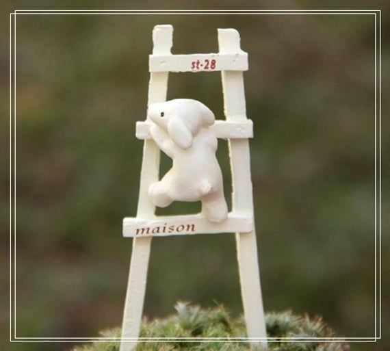 ZAKKA White Dog Ladder Micro Landscape Fairy Garden Accessories Miniature Dollhouse Accessories Moss Succulent Terrarium Supplier #dollhouseaccessories