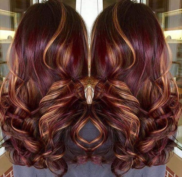 Red Violet With Golden Highlights Hair Styles Burgundy Hair Hair Highlights