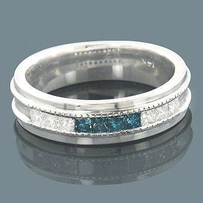 Mens 14K Gold White Blue Diamond Wedding Band 098ct Diamond