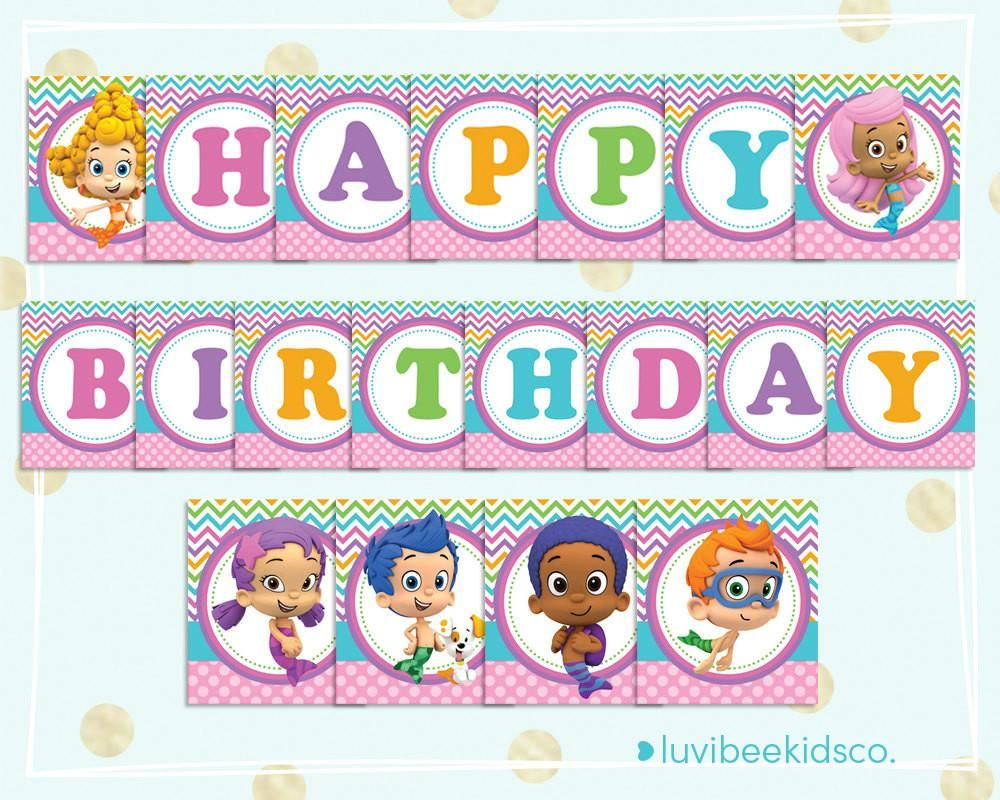 Bubble guppies happy birthday banner printable pdf banner for bubble guppies happy birthday banner printable pdf banner for girls multicolored luvibeekidsco amipublicfo Images